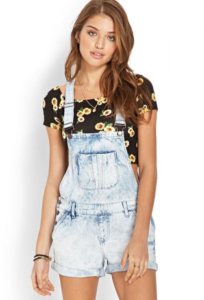 light blue denim overall shorts black floral printed cropped t shirt