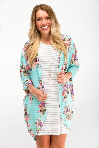 light blue floral cardigan grey and white striped t shirt dress