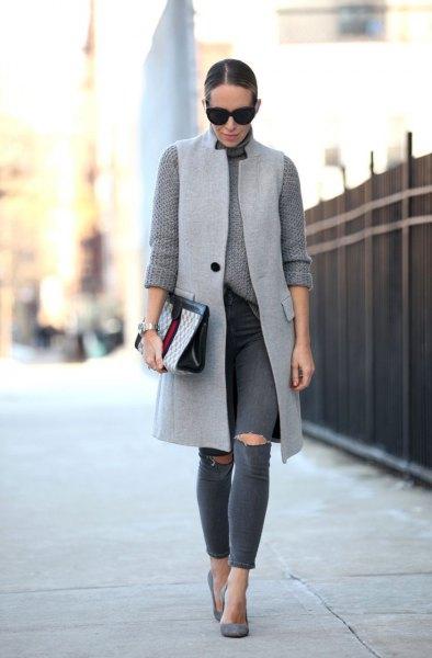 light grey long vest chunky knit sweater