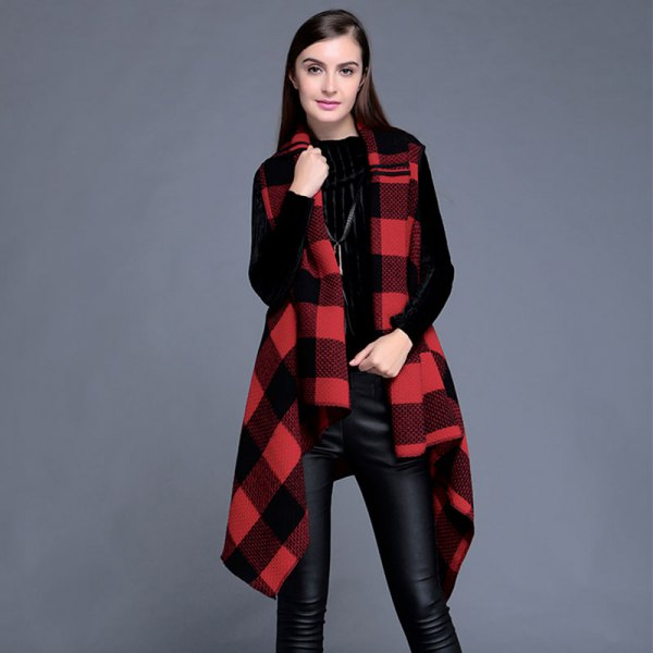 long flannel red and black plaid vest with black top leather pants