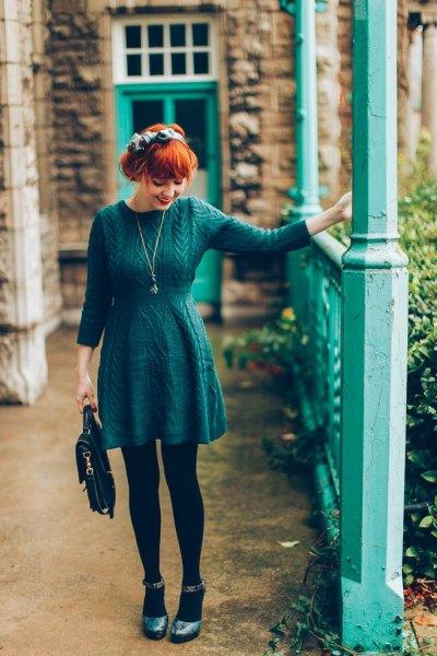 long sleeve knit gathered waist skater dress