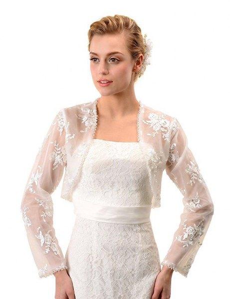 long sleeve white lace shrug belted wedding dress