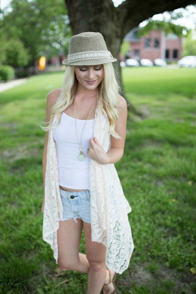 long white lace vest light blue mini denim shorts
