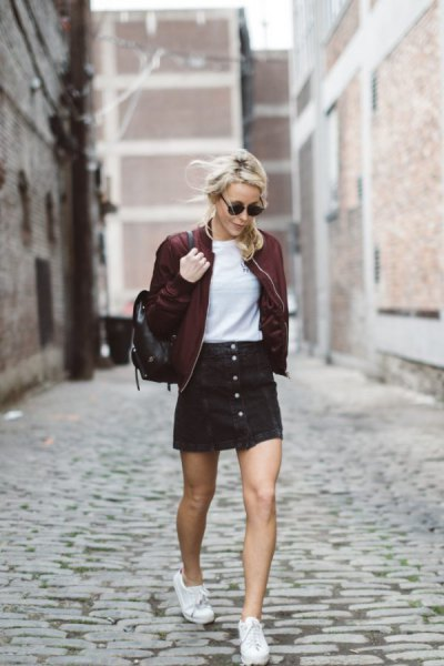 maroon bomber jacket black button front corduroy mini skirt