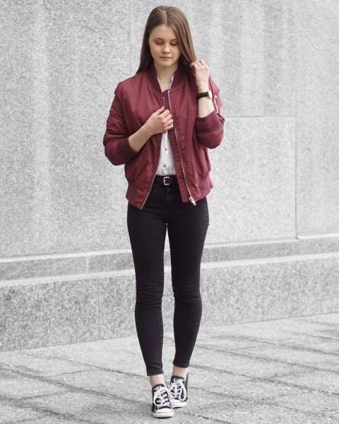 maroon bomber jacket white button up shirt