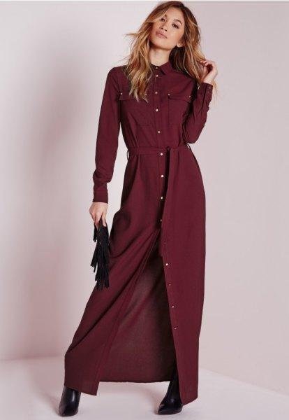 maxi burgundy belted shirt dress