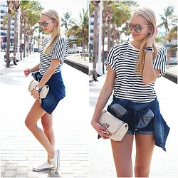 navy and grey striped t shirt denim shorts