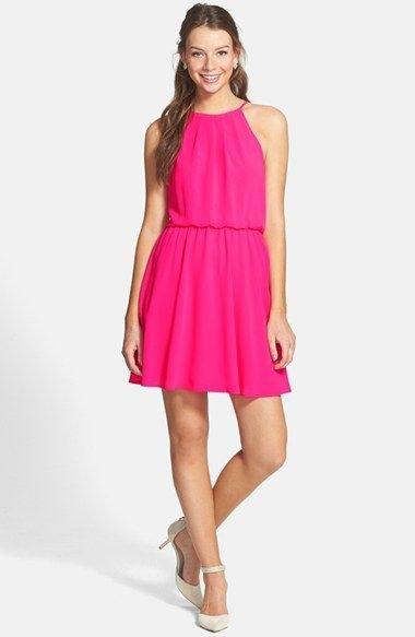 neon pink blouson skater dress