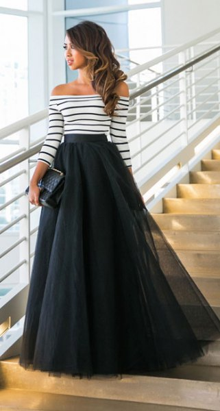 off shoulder striped long sleeve top maxi tulle skirt