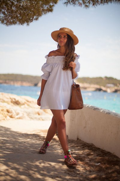off the shoulder white badydoll dress straw hat