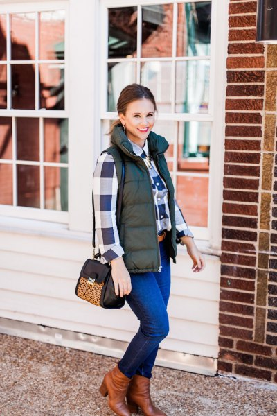 olive green quilted vest navy and white plaid boyfriend shirt