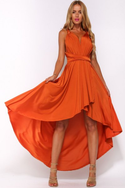orange gathered waist high low flared midi dress