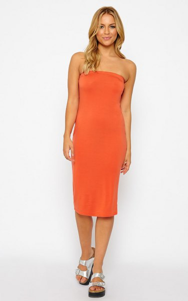 orange midi tube dress silver sandals