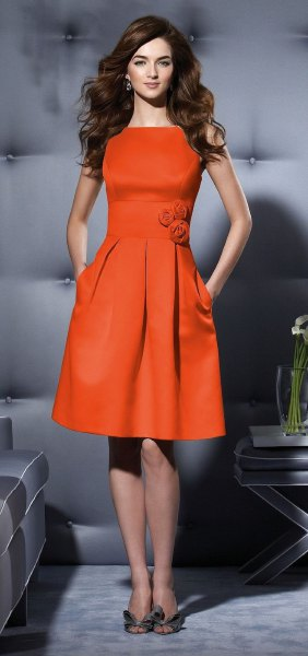 orange skater silk dress floral belt