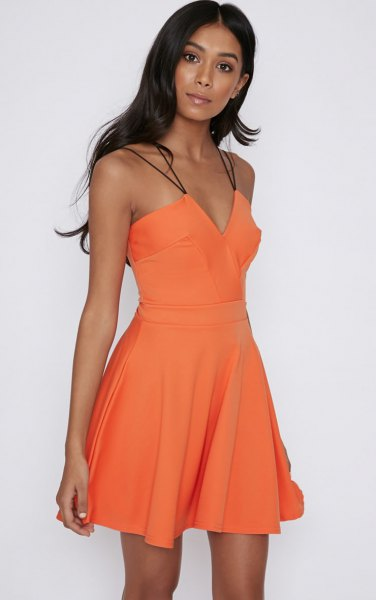 orange sweetheart skater mini dress