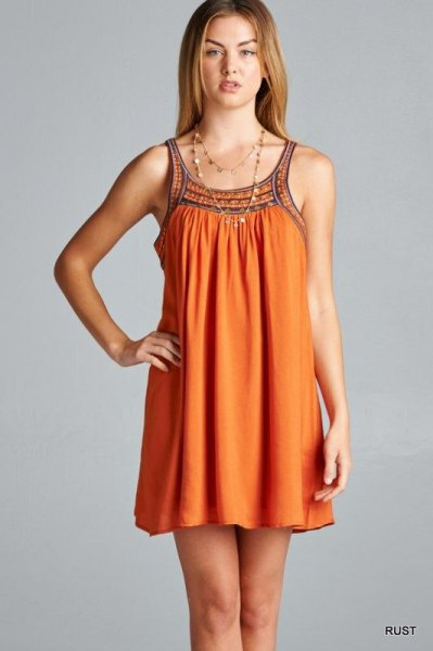 orange tribal printed mini swing dress
