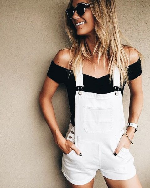 overall shorts black off shoulder form fitting top
