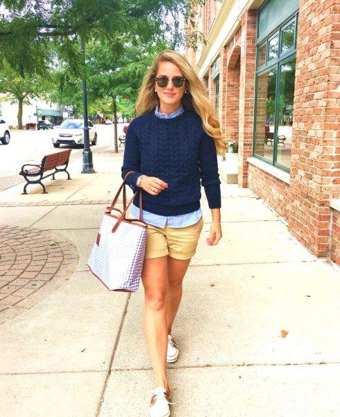 pale orange khaki shorts navy knit sweater