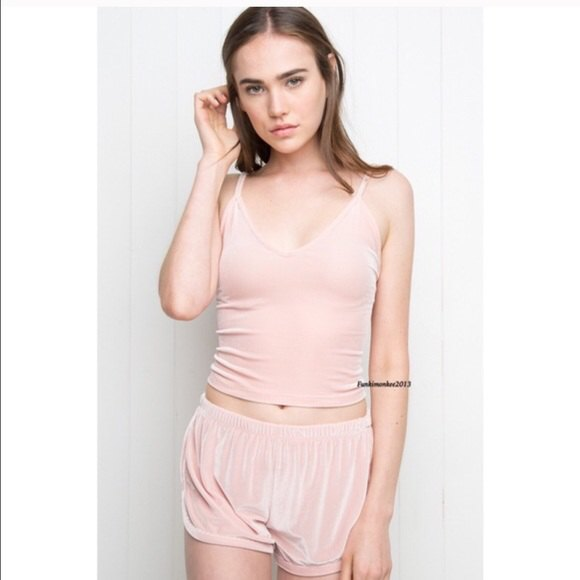 pale pink cropped vest top matching velvet shorts