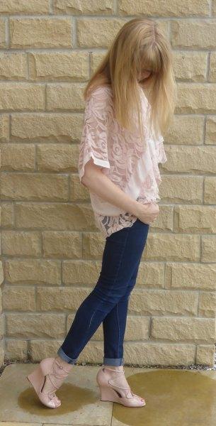 pale pink lace vest white chiffon blouse