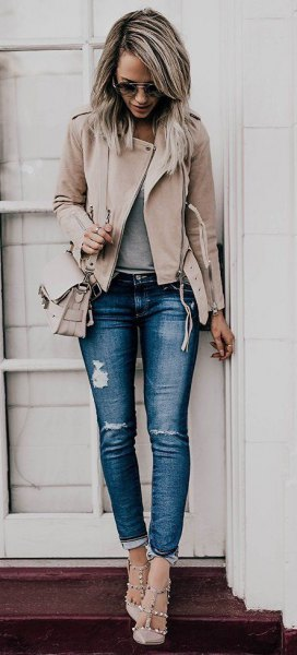 pale pink leather jacket ripped stretch jeans