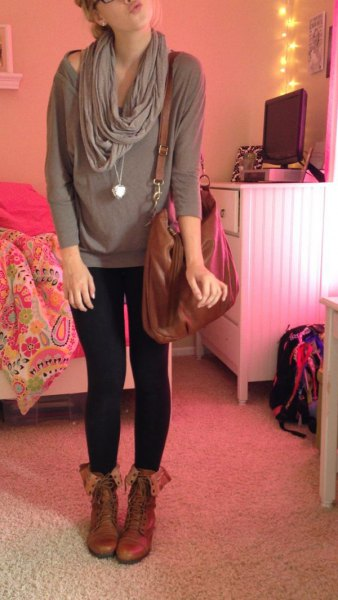 pale pink wide neck sweater leggings brown boots