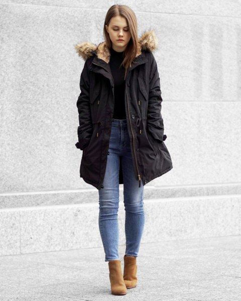parka jacket black sweater mom jeans