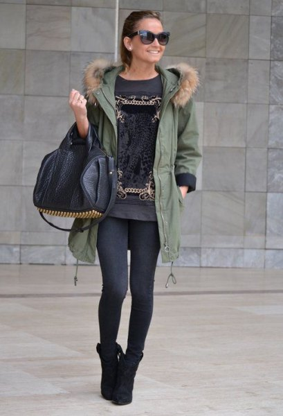 parka jacket grey printed t shirt dress