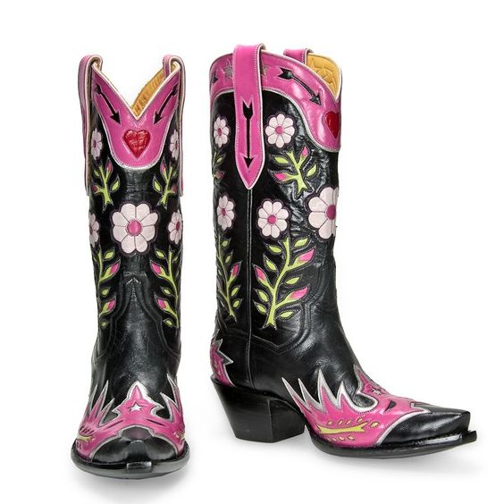 pink cowgirl boots floral modern