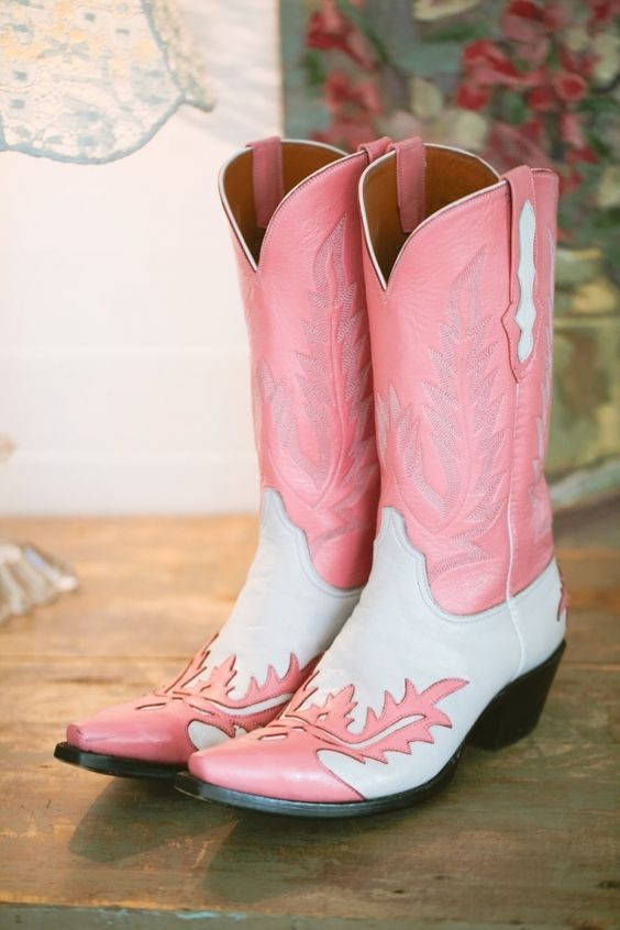 pink cowgirl boots white