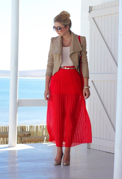 pink leather jacket red maxi pleated skirt