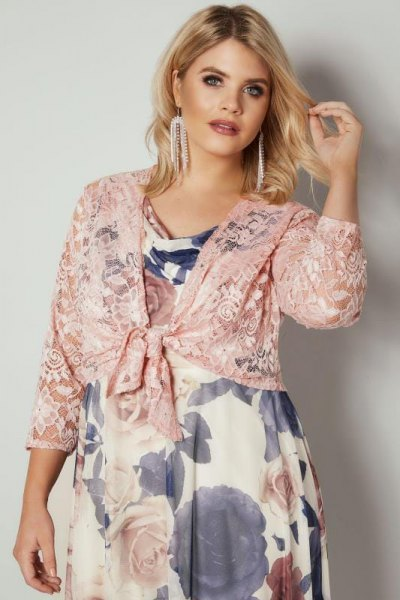 pink shrug floral babydoll dress