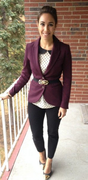 purple blazer white and black polka dot blouse