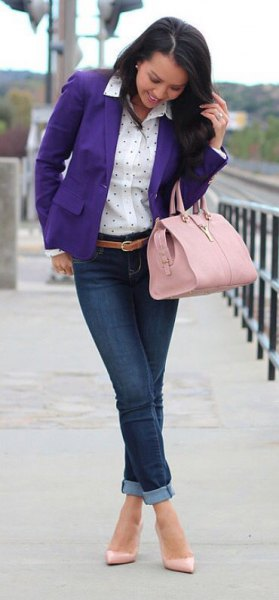 purple blazer white polka dot shirt