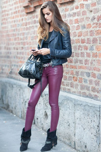 purple jacket pink leather pants