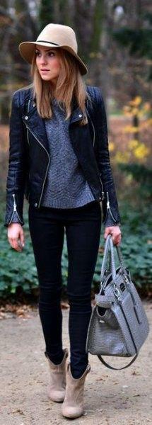 purple knit sweater black skinny jeans