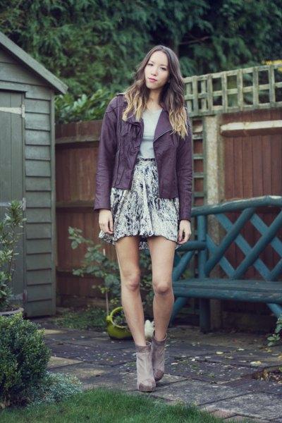purple leather jacket grey tee silver velvet skirt