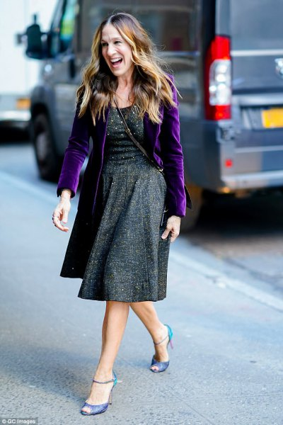 purple velvet blazer grey tweed dress