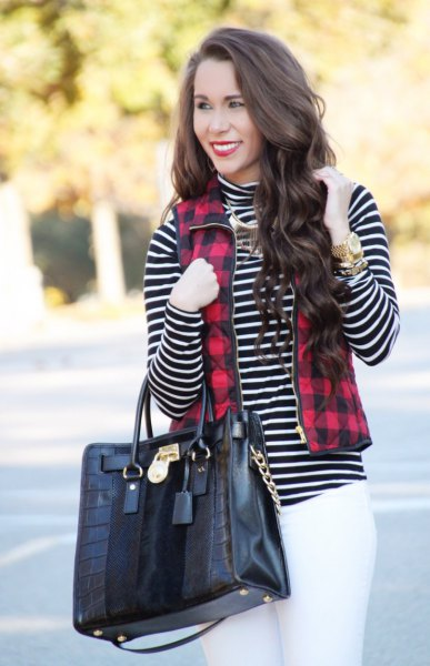 red and black plaid full zip vest black and white striped mock neck top