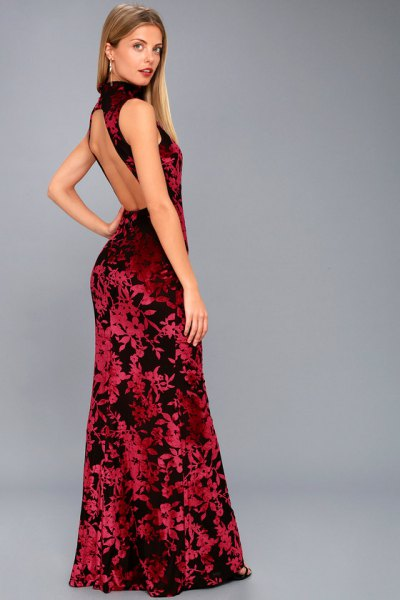 red and black turtleneck backless maxi dress