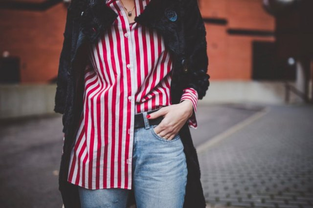 red and white striped oversized shirt black wool long coat