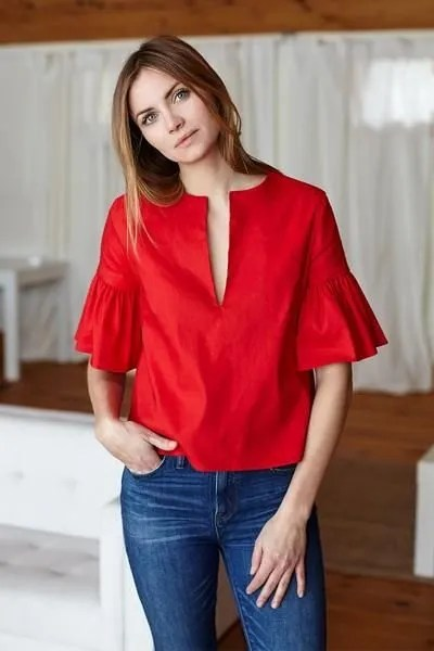 red bell sleeve blouse blue jeans