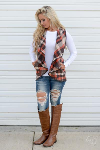 red black white plaid chiffon vest white long sleeve t shirt