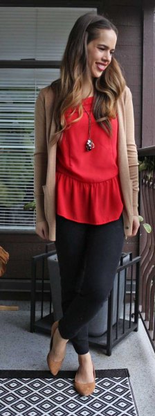 red blouse crepe cardigan black chiffon skirt