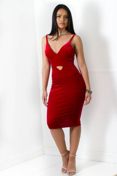red cutout bodycon cami velvet dress