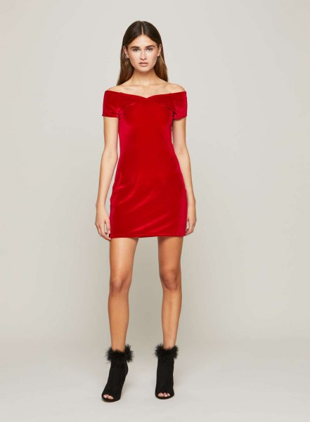 red off shoulder mini dress open toe boots