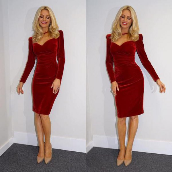 red puff shoulder long sleeve bodycon dress