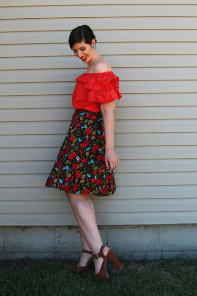 red ruffle off shoulder blouse high waisted floral flared midi skirt