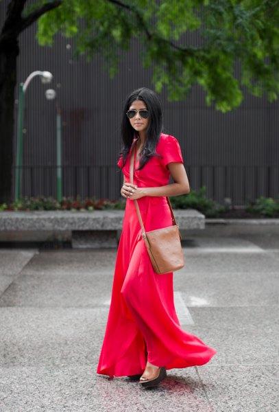 red short sleeve floor length flowy dress