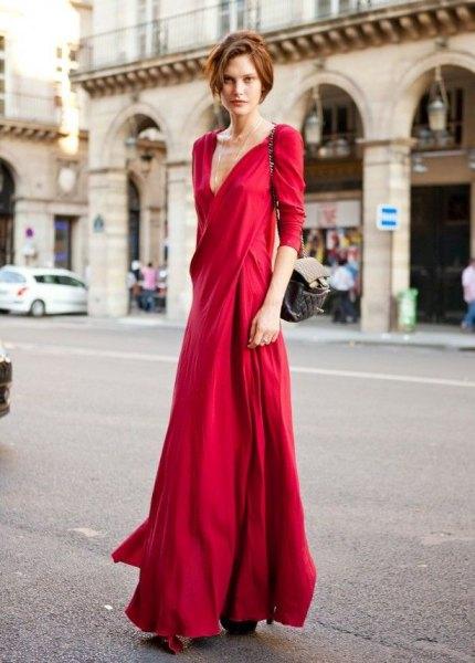 red silk deep v neck maxi dress
